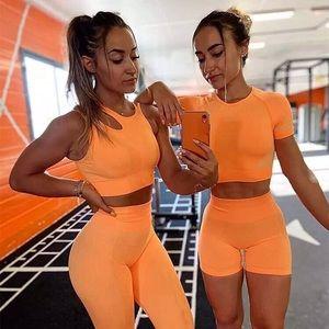 Ultra seamless orange yellow BRA + SHORTS SET 💛🧡